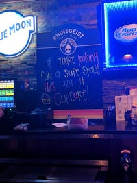 A Rhinegeist-branded chalkboard in Broney's Alumni Grill displayed a message on Friday many found offensive. Rhinegeist ended their relationship with Broney's as a result. (Photo via Lia Knox on Facebook)