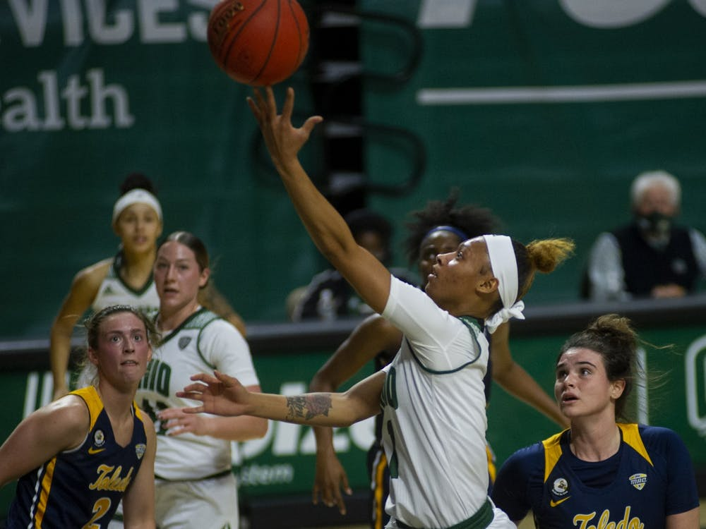 Ohio University's guard, CeCe Hooks (1), takes the ball to the basket during the home game against The University of Toledo on Saturday, Jan. 9, 2021.