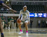 Ohio's guard CeCe Hooks (No. 3) looks for a pass against The University of Toledo on Feb. 19, 2020.