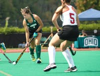 Ohio's Claire Buckey hits the ball up the field during the Bobcats' game against Ohio State on Sept. 17, 2017. (FILE)