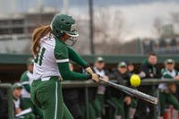 Ohio's Michaela Dorsey swings the bat during the Bobcats' game against Bowling Green on Friday, March 22, 2019. (FILE)