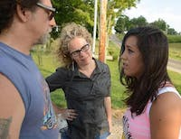 Pearl Gluck, center, talks to actors Regina Westerviller and James Gagne, Jr. on the set of 'The Turn Out.' (PROVIDED via Pearl Gluck)