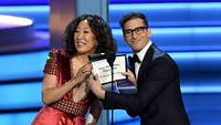 Alongside co-hosting with Andy Samberg, Sandra Oh could make history at the Golden Globes this January. (Photo via @THR on Twitter)