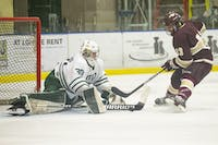 Ohio goalie Jimmy Thomas (30) makes a save during the shootout of the Bobcats game against Robert-Morris Illinois on Friday, October 11, 2019, at Bird Arena in Athens, Ohio. The Bobcats won 4-3 in a shootout. (FILE)