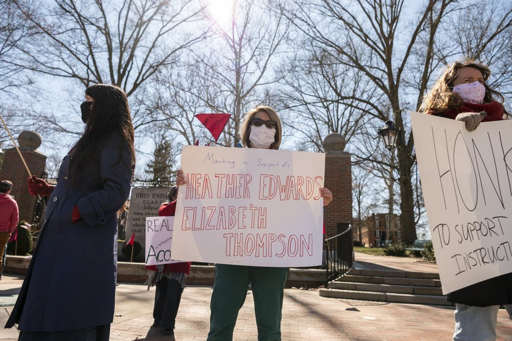 Demonstrators gather on College Green in support of OU non-renewed instructional faculty