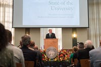 OU President Duane Nellis presents the State of the University speech to faculty members on Tuesday in Walter Rotunda.
