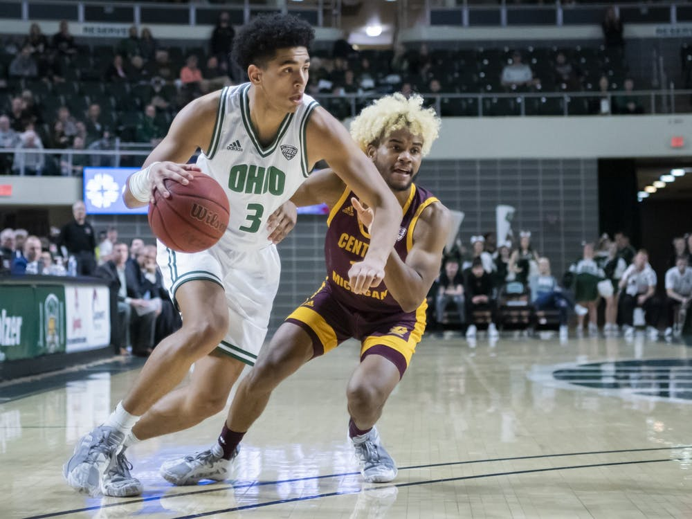 Ohio University's Ben Roderick (No. 3) drives the ball against Central Michigan University. The Bobcats won the game 77-69 in the Convo on Tuesday, Feb, 18th, 2020. (FILE)