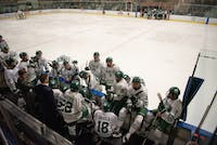 Ohio University team members gather for a timeout during the game against Slippery Rock University on Friday, Nov. 15, 2019, in Bird Arena. The Bobcats won the match 10-2. (FILE)