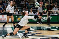 Ohio's Meredith Howe digs to hit the ball in the September 20, 2018 game against Kent State. (File)