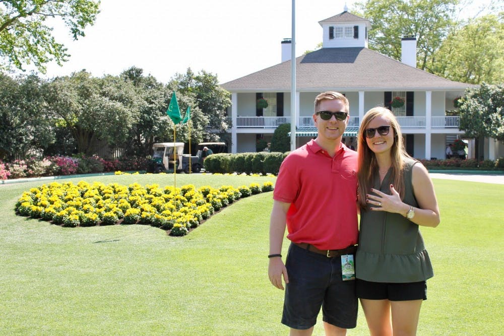 He asked her to be his girlfriend at OU's golf course. He asked her to be his wife at The Masters