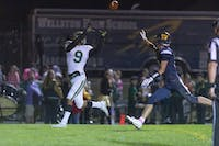 Arthens Wide Receiver Braeden Halbert (No. 9) catching the Ball against Wellston. The Bulldogs won 34-18 on Oct. 18, 2019.