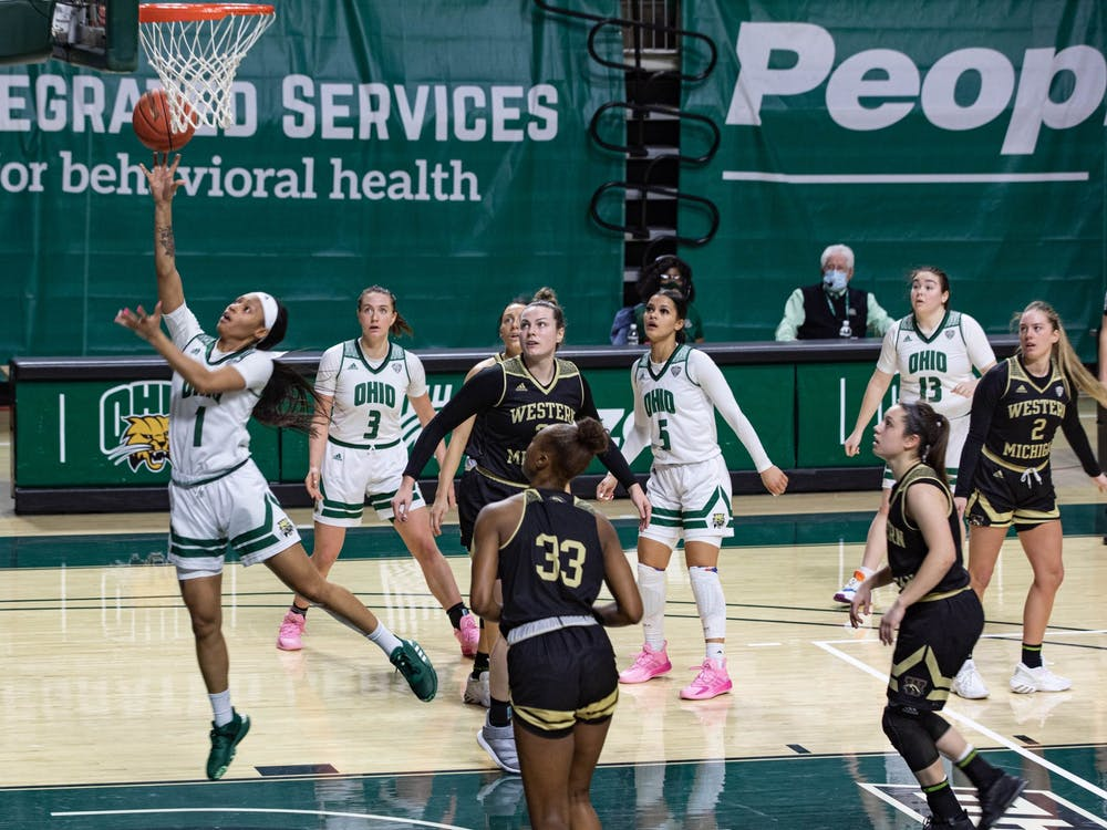 Ohio guard Cece Hooks (#1) takes a shot as the Bobcats and Western Michigan face off in the Convocation Center on Saturday, Feb. 13, 2021.