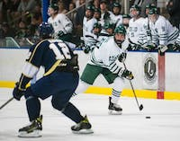 Defenseman Nick Grose (#13) looks for a pass during Ohio's game against John Carroll on Sep. 28. The Bobcats won the game 10-0. (FILE)