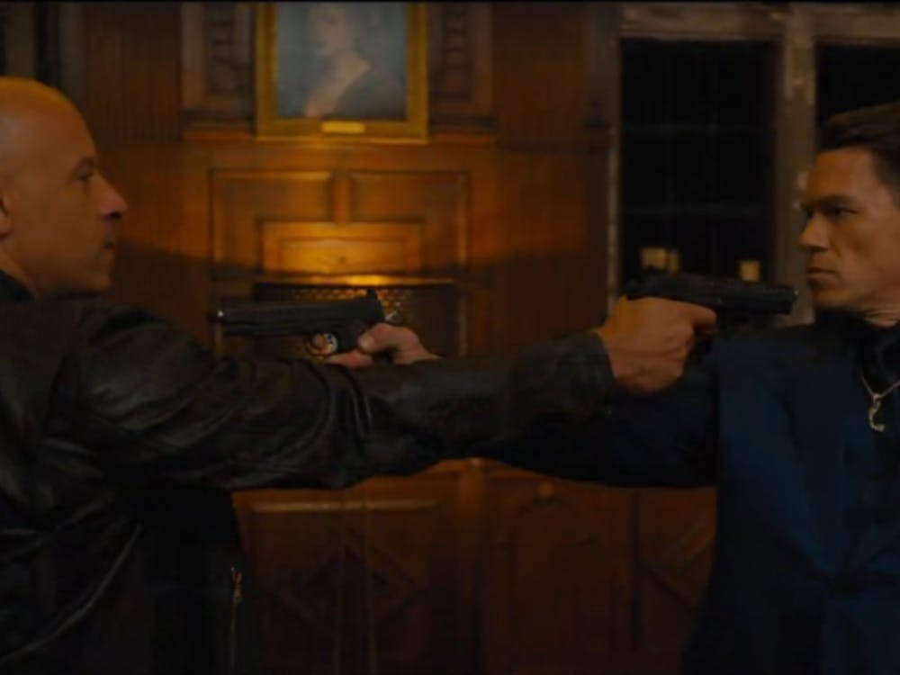 Vin Diesel and John Cena in a standoff in F9: The Fast Saga, now playing in theaters (Photo provided via @Shiva29034832 on Twitter).