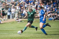 Ohio senior, Hannah Jaggers (#17), dribbles the ball down the field on Saturday, September 10, 2017 against the University of Kentucky. The Kentucky WIldcats defeated the Ohio Bobcats 0-3.  (EMILEE CHINN | FOR THE POST)