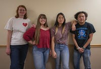 Japanese Language and Culture Association members (from left) Victoria Ginty, Sara Derrick, Kayla Chanthavong, and President Casper Swansiger pose for a portrait on Thursday, Feb. 14.