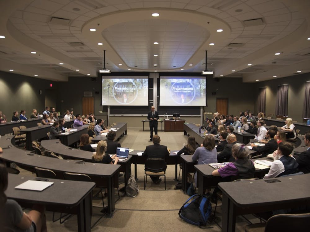 President Nellis speaks during the first student senate meeting of the year at Ohio University on Wednesday, Aug. 30, 2017. (File)