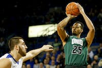Ohio redshirt sophomore forward Ellis Dozier (#25) puts up a shot in the second half of the Bobcats' 108-82 loss to Buffalo on Feb. 24. (FILE)