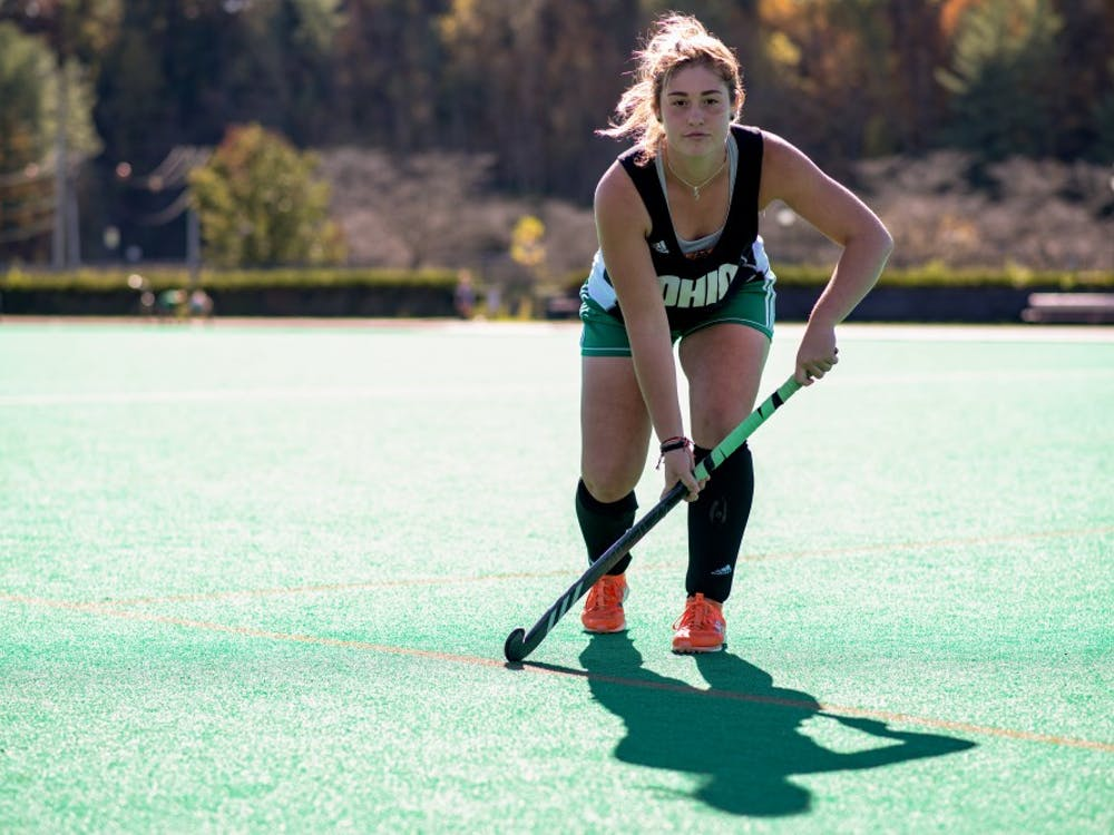 Ohio University field hockey player, Weslee Littlefield, poses for a photo at Pruitt Field on Wednesday, October 23, 2019.