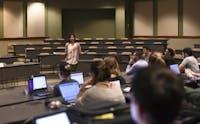 Maria Modayil, president of Graduate Student Senate, speaks to senate members on Jan. 23. (FILE)