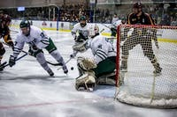 Ohio goalie Mason Koster (31) makes a stop against Calvin.  Koster got some ice time after Sr. Jimmy Thomas was ejected from the 4-3 loss against Calvin in Bird Arena on Saturday, Jan. 18, 2020. (FILE)