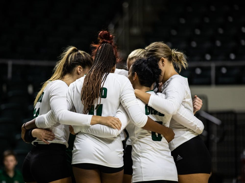 Ohio huddles up before its first match against Samford at The Convo.