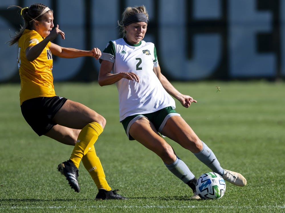Ohio defender Paige Knorr kicks the ball during the Ohio versus Northern Kentucky match at Chessa Field on Thursday, Sep. 9, 2021. Ohio lost 1-0.