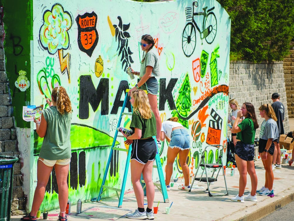 Students paint the garfitti wall for Welcome Week.