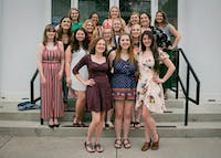 Ohio University's Kappa Phi club, the all-girl, Christian organization pose for a group portrait on Sunday, May 16, 2019. Photo provided by Ohio University Kappa Phi Club Facebook.