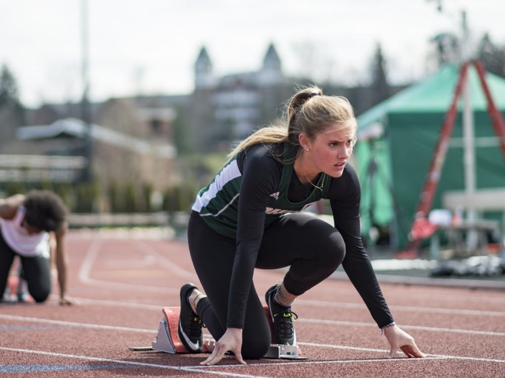 Ohio's Abby Summers prepares to run the 400m hurdles at the Cherry Blossom Invitational on April 7, 2018.