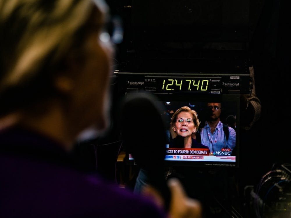 Sen. Elizabeth Warren, D-Mass., answers questions from MSNBC anchors on live TV after the Democratic National Debate at Otterbein University in Westerville, Ohio, on Tuesday, Oct. 15, 2019.