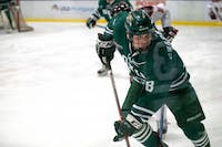 Ohio's Kyle Craddick watches the puck closely during Ohio's game against Davenport on Saturday, November 3, 2018.