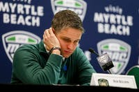 Ohio head coach Bob Boldon in the post-game press conference after the Bobcats' 69-66 loss to Miami in the quarterfinals of the MAC Tournament on Wednesday, March 7, 2018.