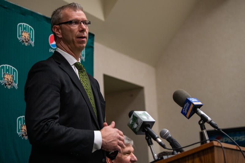 Ohio men's basketball coach Jeff Boals speaks at a news conference on March 18 in The Convo. (FILE)