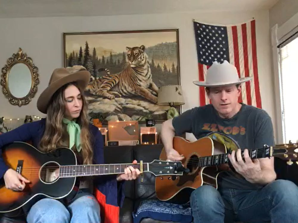 (Screenshot) Angela Perley and Chris Connor perform in a Facebook livestream on April 19, 2020.