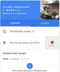 """Google search results from July 12th lists Soulvaki's Mediterranean Gardens as """"Permanently closed."""" The restaurant is closed for the summer but will reopen when students return to campus."""