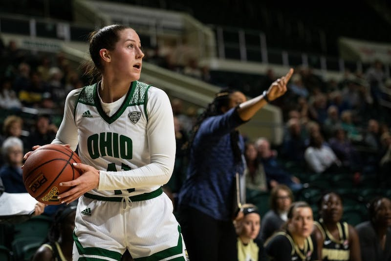 Ohio's Gabby Burris prepares to shoot the ball during the game against Purdue on Wednesday.