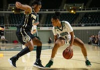 Ohio's Cece Hooks dribbles the ball during the Bobcats' game against Purdue on Wednesday.
