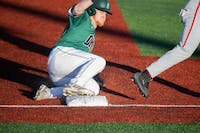 Ohio's Rudy Rott slides into third base during the game versus Ohio State on Tuesday, April 9, 2019. Ohio lost the game 10-8.