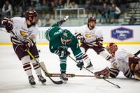Ohio's Gianni Evangelisti (No. 7) shoots the puck for the second goal of its 3-1 victory over Robert Morris-Illinois on Friday, Nov. 30, 2018.