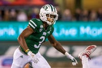 Ohio's Cameron Odom watches the ball during the Ohio versus Miami game on Nov. 6, 2019. Ohio lost the game 24-21.