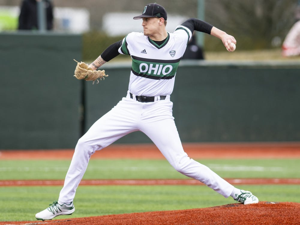Ohio pitcher Joe Rock pitches the ball during Ohio's game against Morehead State on Friday, Feb. 26, 2021. Rock pitched a no hitter as Ohio won 6-0.