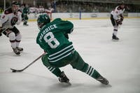 Ohio's Kyle Craddick (#8) handles the puck during Saturday's match against Davenport in Bird Arena. The Bobcats lost 3-2 overtime.