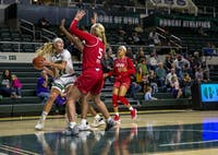 Ohio University guard Maddie Bazelak (No. 22) looks for a pass with pressure from The University of the Incarnate Word guard Kara Speer (No. 5) in The Convo on Nov. 23, 2019.
