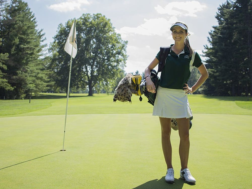 Women's golfer Hailey Hyrnewich of Muskegon, Michigan, poses for a portrait. (FILE)