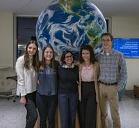 The members of Bobcats, Get on the Map (left to right) Casey George, Alyssa Gormley, Hardika Singh, Vivian Moussa and Alec Charron pose for a portrait in Schoonover Center on Wednesday, March 4, 2020.