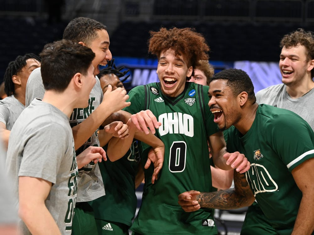 INDIANAPOLIS, IN - MARCH 22: The Creighton Bluejays take on the Ohio Bobcats in the second round of the 2021 NCAA Division I Men's Basketball Tournament held at Hinkle Fieldhouse on March 22, 2021 in Indianapolis, Indiana. (Photo by Brett Wilhelm/NCAA Photos via Getty Images)