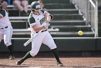 Ohio's Morgan Geno swings during the Bobcats' game against Buffalo on April 27. (FILE)