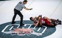 Ohio University's Jake Walker wrestles against Gardner-Webb's Roderick Davis on Feb. 23, 2020 at The Convo. Ohio went on to win against Gardner-Webb 40-6.