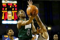 Ohio's Teyvion Kirk (#4) goes in for a layup in the second half of the Bobcats' 108-82 loss to Buffalo on Saturday, Feb. 24, 2018. (FILE)